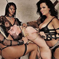Three badass shemales punish a slave.