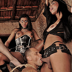 3 kinky ts dommes punish a guy.