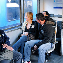 Lulu trading blowjobs with her man on  a public train.