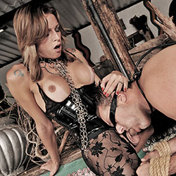 Ts mistress dany dominates her slave.