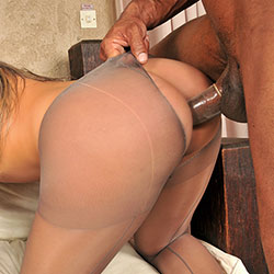 Hot blonde tranny in pantyhose gets fucked.
