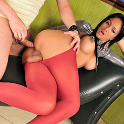Shemale in red pantyhose getting fucked.